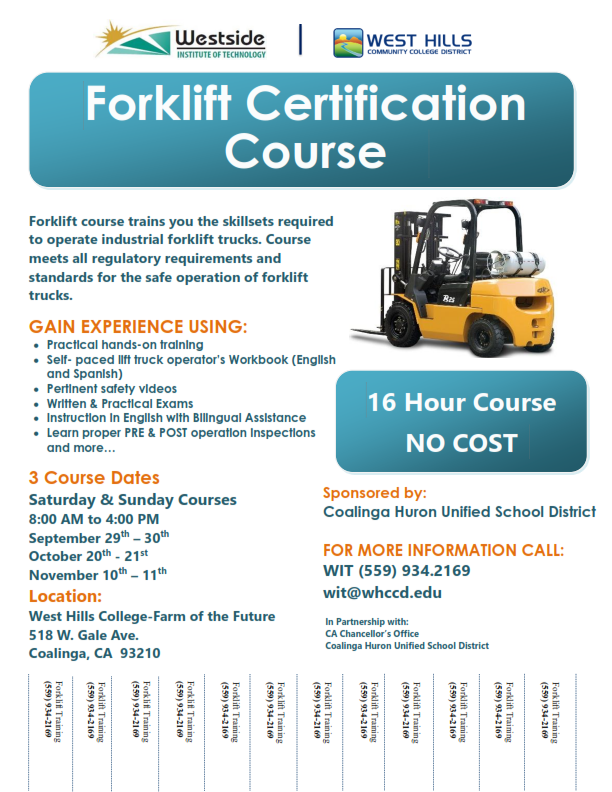 FREE Forklift Certification Course – Coalinga | Ready 2 Hire